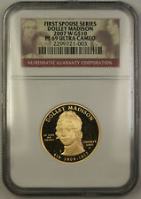 2007-W Dolley Madison First Spouse 1/2 Oz 9999 Gold $10 Coin NGC PF-69 (JAB)