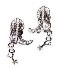 Little Cowboy Boots & Spurs Earrings Pierced Posts Clear Rhinestones
