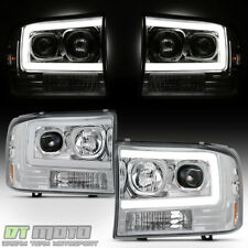 1999-2004 Ford F250 F350 SuperDuty [LED Tube] Projector Headlights Headlamps
