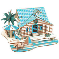 Assembly DIY Education Toy 3D Wooden Model Puzzles Bali Seaside Vacation House