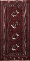 Geometric Burgundy Bokhara Traditional Oriental Area Rug Wool Hand-knotted 2'x3'