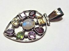 Striking and Stylish Hand Made Sterling Silver Moonstone and Gem Pendant 8.8g
