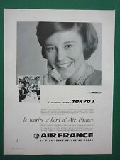 8/1962 PUB AIR FRANCE AIRLINE HOTESSE DE L'AIR STEWARDESS ORIGINAL FRENCH AD