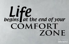 Life begins at the end of your confort zone, inspirational quote, wall sticker