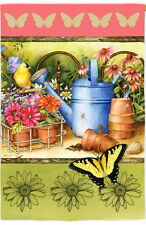 "29"" x 43"" Garden Grow Flower Pots Watering Pail Bird Butterfly Large Banner Flag"