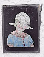 ANTIQUE ART DECO DUTCH GIRL TINSEL FOIL ART REVERSE GLASS W ADVERTISING ON BACK