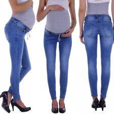 Damen Umstandsjeans Umstandshose Schwangerschafts Hose Jeans mit Bauchband H61
