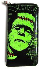 Banned Frankenstein Mostro Horror Skull Wallet Purse Tatuaggio Psychobilly Punk