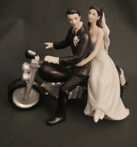 Cake Topper Simply Better Wedding Star Motorcycle Couple Figurine Porcelain