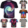 Summer Women/men Psychedelic 3D print Short Sleeve Casual Top T-Shirts S-5XL TA1