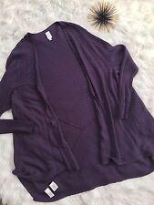Jones New York Woman Sweater 3x Open Front Cardigan Jacket Eggplant Purple T27