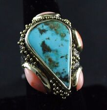Oxidized Sterling Silver Ring Persian Turquoise Gemstones Handcrafted
