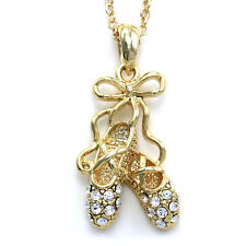Dancing Ballerina Dancer Ballet Dance Shoes Pendant Necklace Charm Gold Tone n1