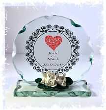 Personalised Gift Heart Cut Glass Plaque Any occasion with own names ect  #8