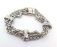 .Sterling Silver Triple Woven Chain & Diamond Accent Sections Bracelet 18cm