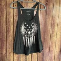 Couth Black Eagle American Flag Racerback Women's Tank Top Size Large