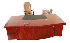 Büromöbel Chef Schreibtisch Paris links Jet-Line Echtholz Kirschbaum Ecktisch