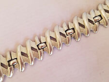 Vintage Silver Tone Monet Bracelet Zig Zag Modernist Safety Chain