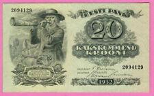 ESTONIA 20 KROONI 1932 P # 64a UNC 1638