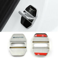 2 Pcs AMG Car Door Lock Cover Chrome Alloy Silver Buckle Universal All Type s69