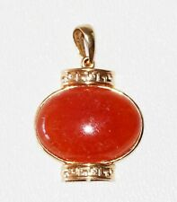 Vintage Chinese 14K Yellow Gold Pendant w. Oval Red Jade Cab Accent (SaR) #109