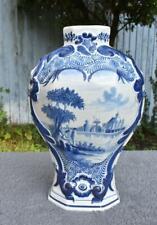 SUPERB LARGE ANTIQUE 18thC DUTCH DELFT BLUE & WHITE VASE - Sept Fontainess