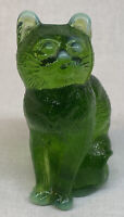 Mosser Art Glass Item number 101 Sitting Cat Green Opalescent Discontinued Item