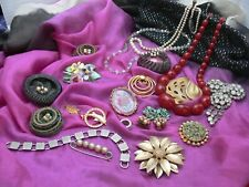 Beads Etc Wear Repair Deco Clutch Bag Big Job Lot Mixed Vintage Jewellery Brooch