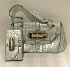 Guess Silver Metallic Mock Croc Crocodile Leather Handbag