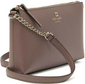 Kate Spade Declan Gold Chain Crossbody Brown Smooth Leather NWT WKRU6081 $248 FS