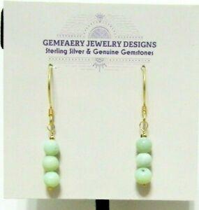 Vermeil Natural Green PERUVIAN OPAL Gemstone Dangle Earrings #628...Handmade USA