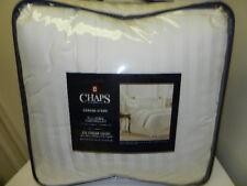 Chaps Queen Full Comforter Set Damask Stripe W/ Shams White 500 Thread Count