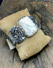 Barse Jacquard Cuff Bracelet- Mother of Pearl- Silver Overlay- NWT