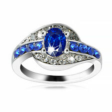 Women Blue Sapphire Gemstone White Gold plated Engagement party Ring Size 8