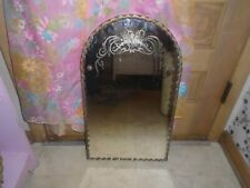 Vintage Scalloped Edge Etched Wall Mirror Frameless Mid Century 15� x 25�
