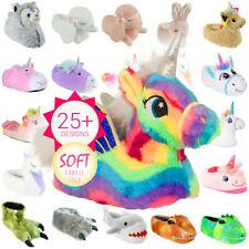 Chicas chicos Novedad carácter felpa Unicornio Zapatillas de animales 3D tamaño Ladies UK10-3