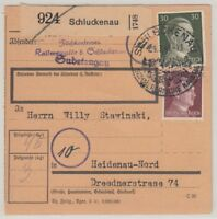24811) SCHLUCKENAU Sudetenland Paketkarte 1944 nach Heidenau b. Dresden
