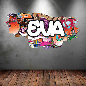 FULL COLOUR PERSONALISED 3D GRAFFITI NAME CRACKED WALL ART STICKERS DECAL WSD117