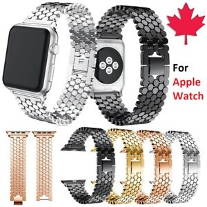 For Apple Watch 38 40 42 44 mm - Stainless Steel Hexagon Link Band Strap iWatch