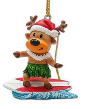 Hawaiian Poly Resin Ornament Reindeer Surfer Christmas Mele Kalikimaka Hawaii NB