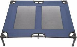 Pawhut Portable Elevated Dog Bed Pet Cot, Blue