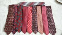 Lot 10 Men's Burgundy Red Ties with Navys+ in Stripes Solids Paisley Neckties