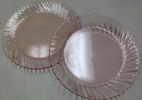 Arcoroc France French Pink Swirl Glass Rosaline 2 Dinner Luncheon Plates ACO17