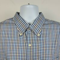 Peter Millar Brown Blue Brown Plaid Check Mens Dress Button Shirt Size 2XL XXL