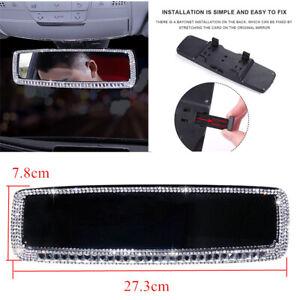 1x Universal Car Auto Interior Rear View Mirror w/Bling Rhinestone Diamond Decor