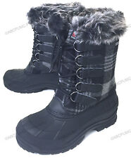 New Women's Winter Boots Flannel Plaid Insulated Fur Waterproof Hiking Warm Snow