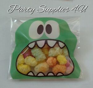 Green Monster cello bags. 10pk. Cookies/party/gift/sweets/candy/favour/Halloween