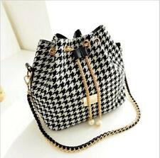 Women's Bag Bucket Canvas Chain Crossbody Shoulder Drawstring Handbag Purse