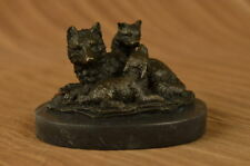 Bronze Sculpture Wolf Cub Bust Wild Life Garde Statue Figurine Figure Art Deco