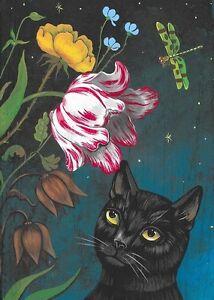 5x7 PRINT OF PAINTING RYTA BLACK CAT SPRING FLOWERS NIGHT SKY TULIP ROSE ART